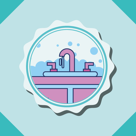 washbasin water bubbles furniture banner bathroom vector illustration Ilustrace