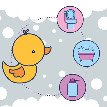 rubber duck toy toilet bathtub and liquid soap vector illustration