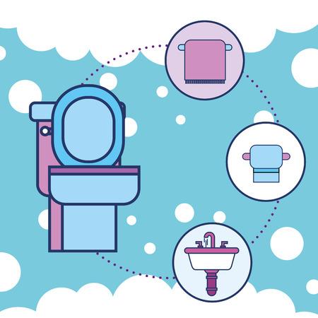 toilet towel paper and washbasin bathroom vector illustration