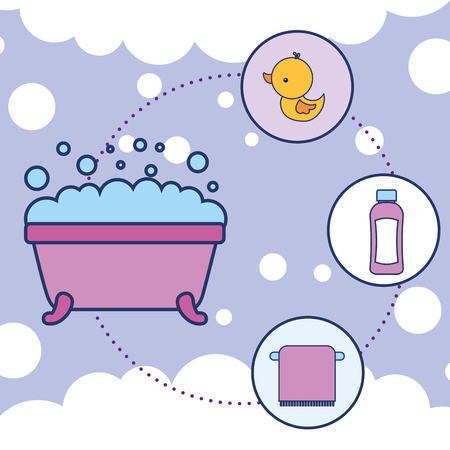 bathtub rubber duck shampoo and towel bathroom vector illustration 스톡 콘텐츠 - 111735985