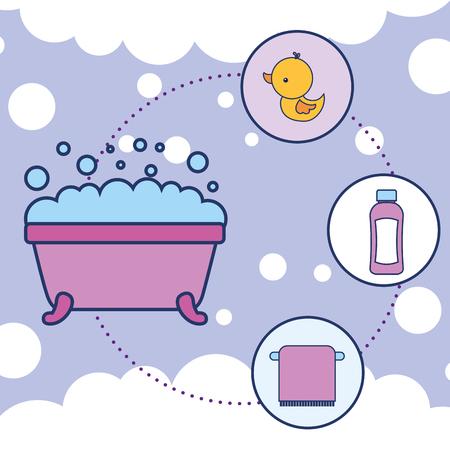 bathtub rubber duck shampoo and towel bathroom vector illustration