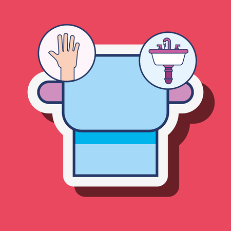 toilet paper hand and wash basin bathroom vector illustration