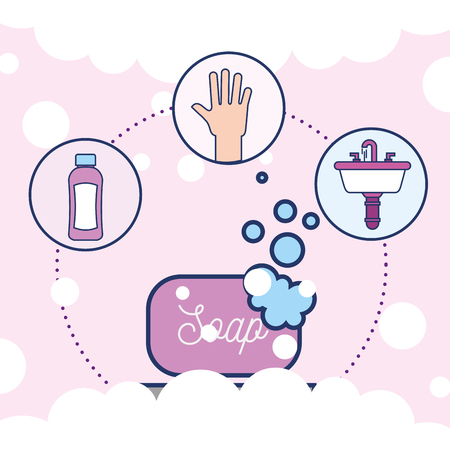 soap hand washbasin and shampoo bathroom vector illustration