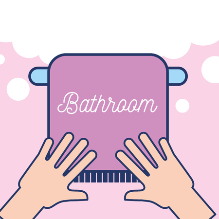 hands with towel clean bathroom vector illustration