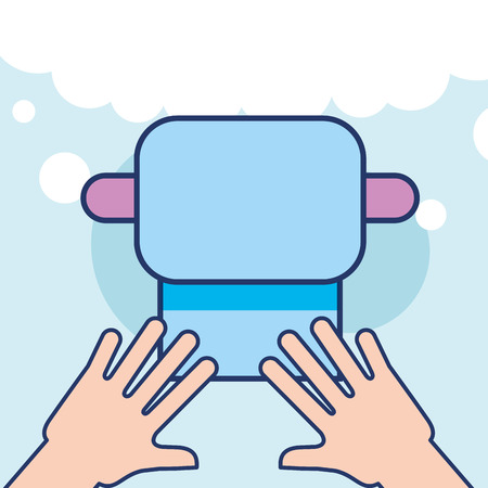 hands with plastic cup and toothbrush bathroom vector illustration 向量圖像