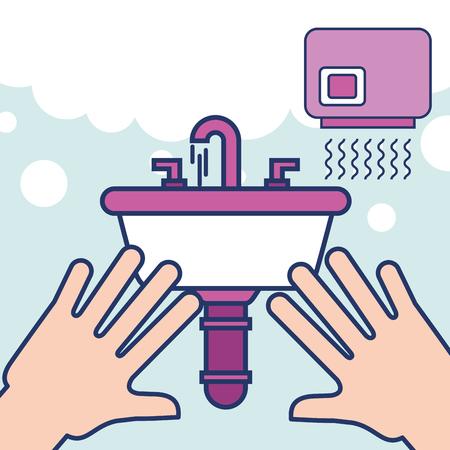 hands with wash basin hand dryer bathroom vector illustration