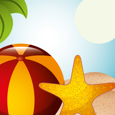 beach ball toy and starfish sand summer time vector illustration