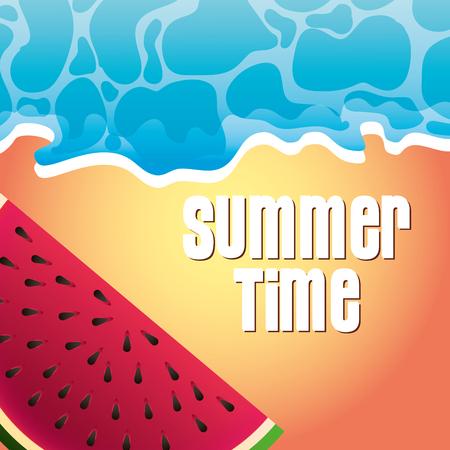 tropical beach sand sea watermelon summer time vector illustration