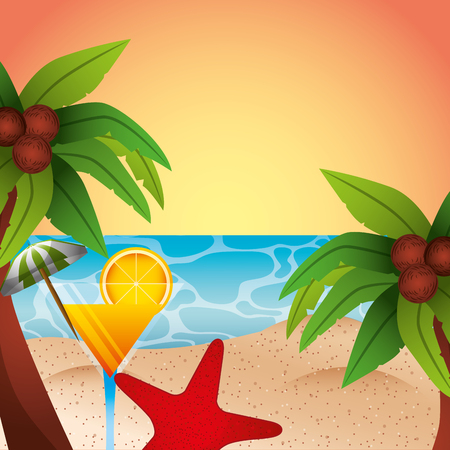 beach cocktail palm coconut starfish summer time vector illustration Illustration