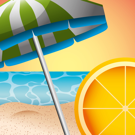 beach umbrella orange and beach sea sand summer time vector illustration Stock Illustratie