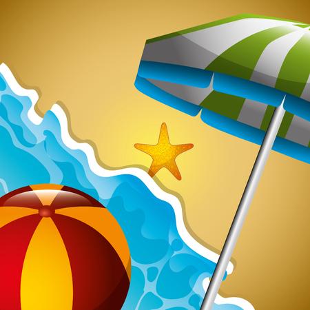 beach ball and umbrella starfish seashore summer time vector illustration Illustration
