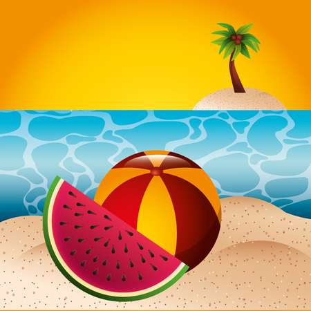 tropical beach watermelon and rubber ball summer time vector illustration