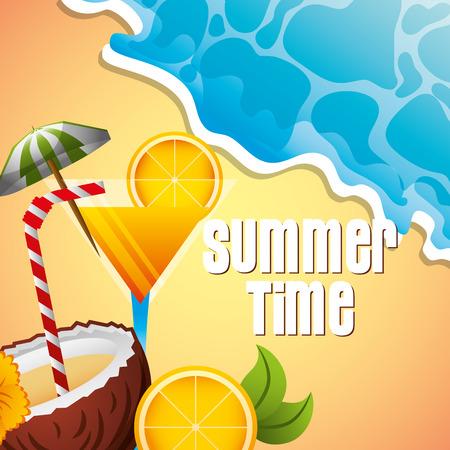 coconut cocktail drink orange beach summer time vector illustration