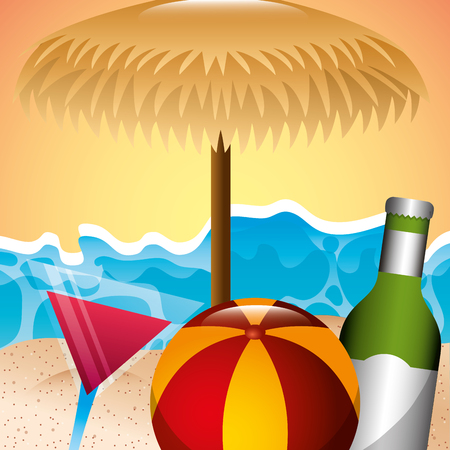 beach rubber ball cocktail and bottle liquor summer time vector illustration