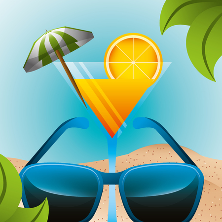 cocktail drink sunglasses beach summer time vector illustration Stock Illustratie