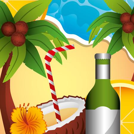 cocktail drink coconut bottle alcohol flower palm summer time vector illustration Illustration