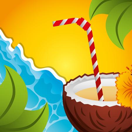 coconut cocktail tropical beach sea summer time vector illustration Illustration