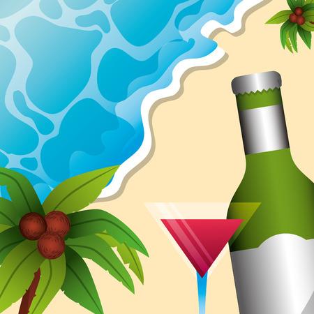 tropical beach bottle cocktail palm coconut summer time vector illustration Illustration
