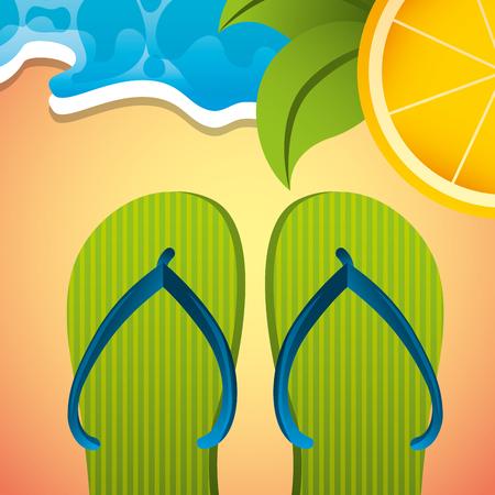 green flip flops orange tropical beach summer time vector illustration