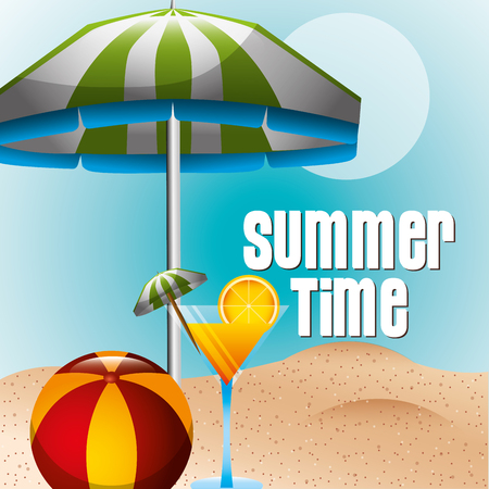 cocktail drink rubber ball umbrella beach summer time vector illustration Фото со стока - 111736014