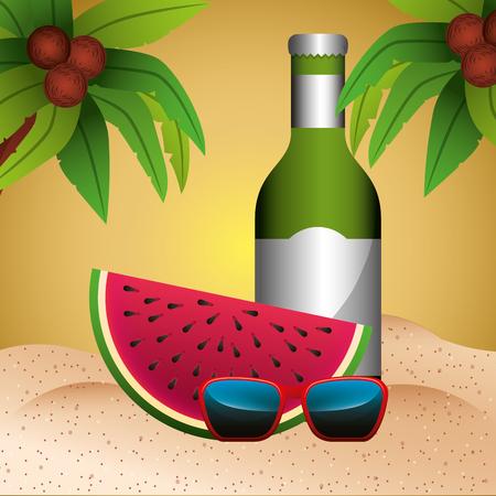 watermelon bottle drink sunglasses palms summer time vector illustration