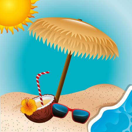 cocktail drink coconut wicker umbrella sunglasses summer time vector illustration Illustration