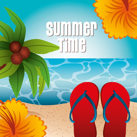 red sandals flower hibiscus and palm beach summer time vector illustration 向量圖像