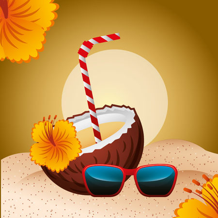 cocktail drink coconut sunglasses flower beach summer time vector illustration