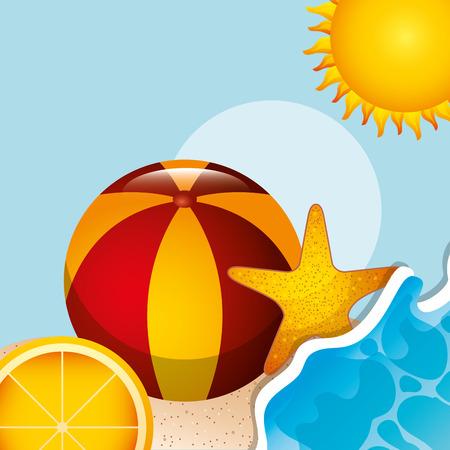 beach ball starfish orange sunny day summer time vector illustration