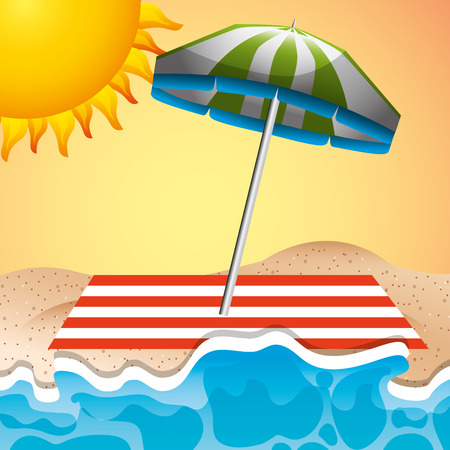 beach umbrella towel sea sun summer time vector illustration