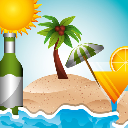 beacah tropical palm umbrella cocktail bottle summer time vector illustration