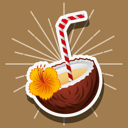 cocktail drink coconut with straw flower vector illustration Illustration