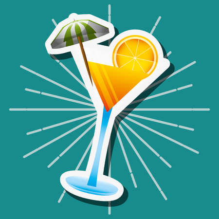 cocktail drink with umbrella and orange vector illustration  イラスト・ベクター素材