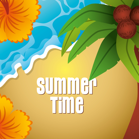 top view beach flowers palm coconut summer time vector illustration