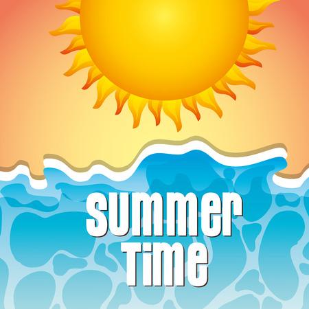top view tropical beach sun sea summer time vector illustration