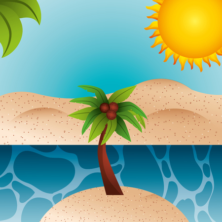 tropical island beach palm coconut sand sea sun summer time vector illustration Illustration