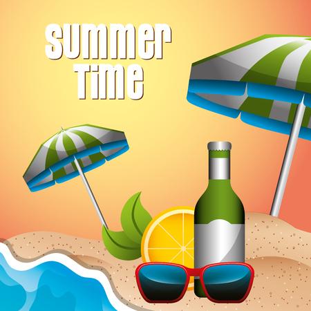 beach umbrella drink sunglasses orange travel summer time vector illustration