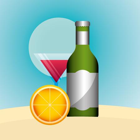 cocktail drink bottle alcohol and orange summer time vector illustration