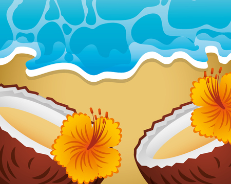 cocktail drink coconuts flowers sea beach summer time vector illustration