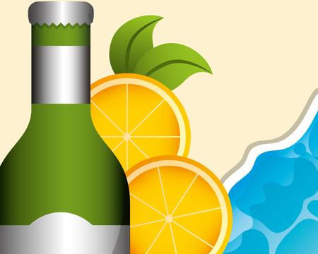 bottle drink alcohol orange slices beach tropical summer time vector illustration Illustration