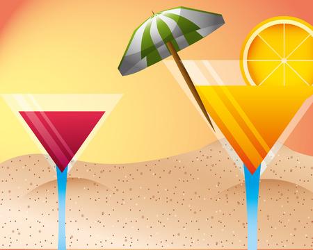 cocktail drinks beverages alcohol beach summer time vector illustration Ilustrace
