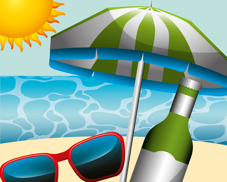 beach umbrella sunglasses and bottle champagne summer time vector illustration