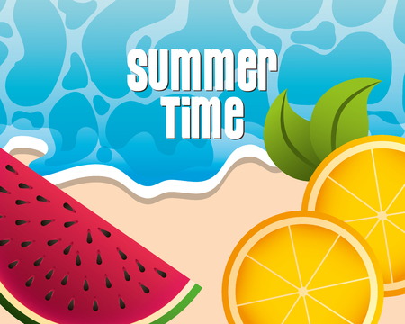 watermelon and oranges tropical fruits beach summer time vector illustration Stock Illustratie