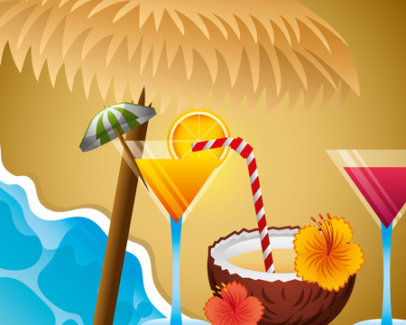 beach wicker umbrella cocktail drinks beverage summer time vector illustration Illusztráció