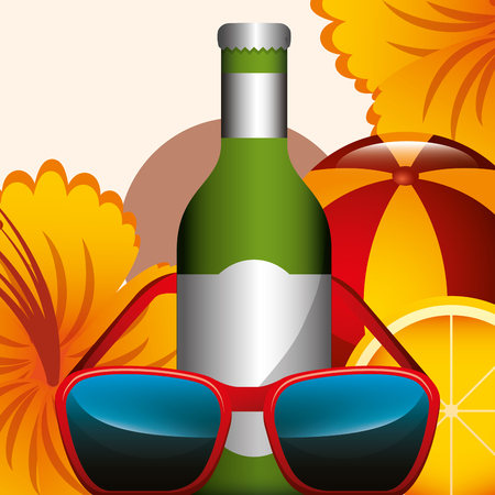 bottle champagne sunglasses flower and rubber ball beach summer time vector illustration  イラスト・ベクター素材