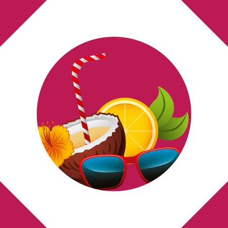 summer time coconut glasses flower  orange vector illustration Çizim