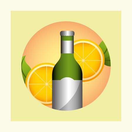 summer time sticker frame  orange drink vector illustration