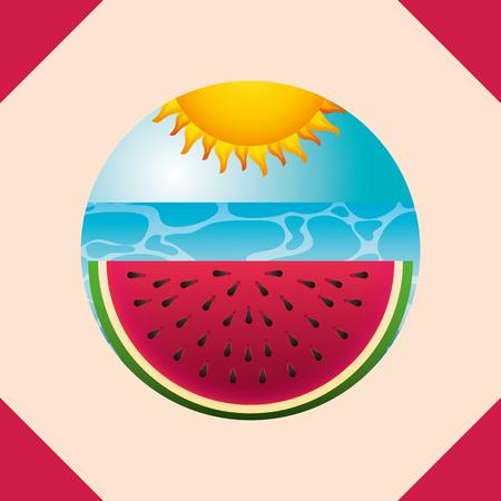 summer time watermelon sea beach sunny day vector illustration