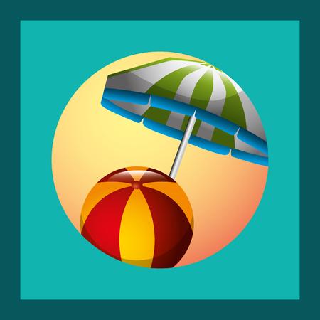 summer time umbrella sunset beach ball vector illustration Ilustracja