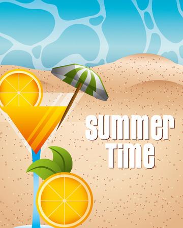 summer time beach  orange cocktail umbrella sign vctor illustration Illustration